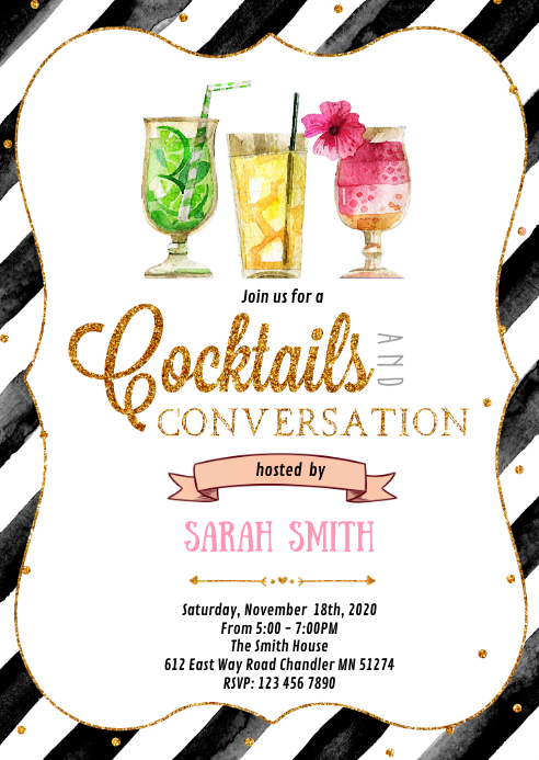 Cocktails and conversation party invitation A6 template