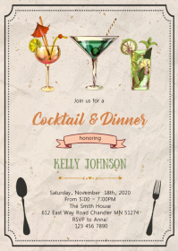 Cocktails and dinner party invitation