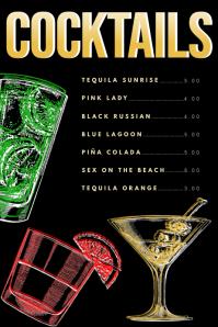 Cocktails Menu Template Affiche