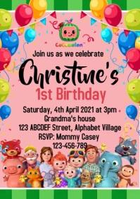 Cocomelon Birthday Invitation A4 template