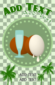 coconut juice or coconut water and palm trees -promotion template