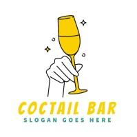 coctail wine bar editable logo 徽标 template