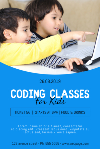 Coding classes for kids flyer template