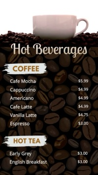 Coffee and Hot Drinks Price List