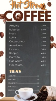 Coffee Bar Digital Menu Template