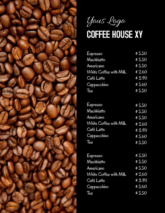 Coffee Bar House Price List offer Drinks ad Рекламная листовка (US Letter) template