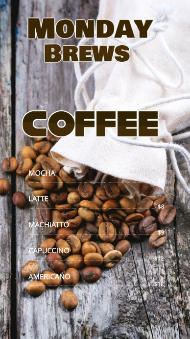 Coffee Bar Menu