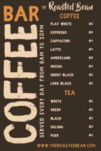 Coffee Bar Menu Template
