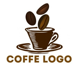 Coffee beans + cup logo Logotipo template