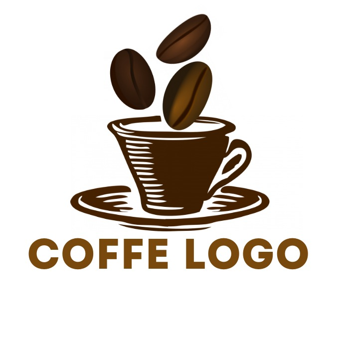 Coffee beans + cup logo template