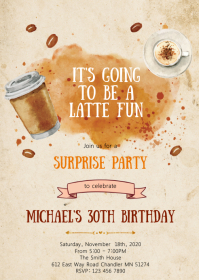 Coffee birthday party invitation