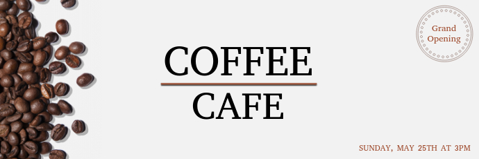 Coffee Cafe Grand Opening Twitter Banner Template