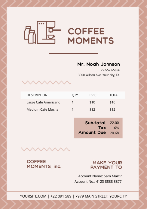 Coffee Cafe Invoice