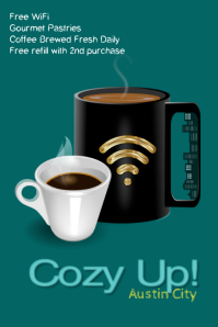 coffee/coffee bar/hot drinks/restaurant/cafe Poster template