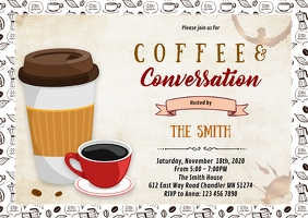 Coffee conversation party invitation A6 template