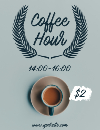 Coffee deal cafe flyer happy hour promo template