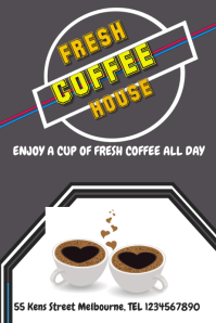 coffee fresh house advertisement display poster flyer