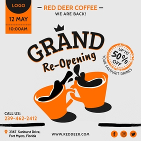 Coffee Grand Reopening Invitation Template