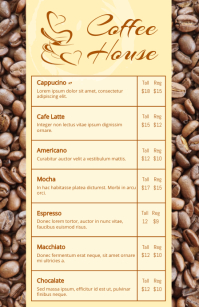 Coffee House Menu Isigamu Sekhasi Ububanzi template
