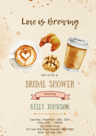 Coffee love is brewing invitation A6 template