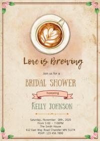 Coffee love is brewing invitation