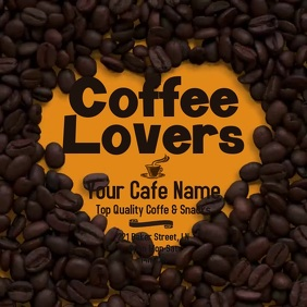 Coffee Lovers Cafe Flyer Cuadrado (1:1) template