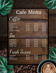 Coffee menu, menu, cafe menu Flyer (format US Letter) template