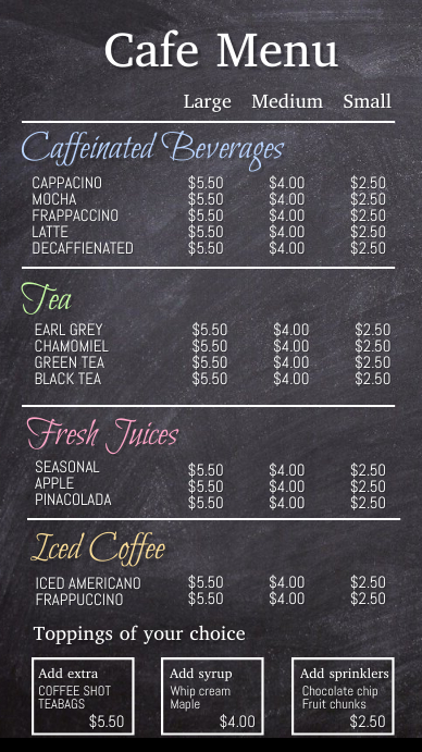 Coffee menu, menu, cafe menu Digital Display (9:16) template