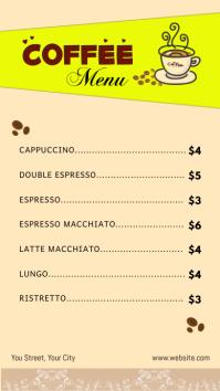 Coffee Menu งานแสดงผลงานแบบดิจิทัล (9:16) template
