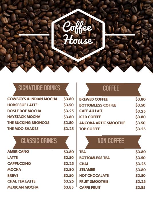 Coffee Menu Flyer Template