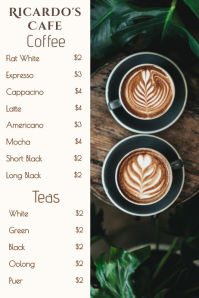 Coffee Shop Bar Menu Template