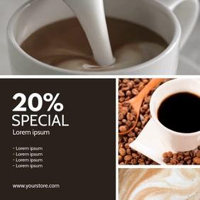 Coffee Shop Bar Restaurant Advert Video Promo Square (1:1) template