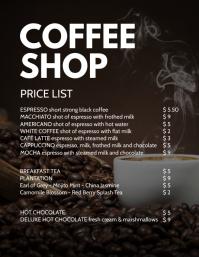 Coffee Shop Bistro Bakery Price List drinks