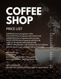 Coffee Shop Bistro Bakery Price List drinks Flyer (US Letter) template