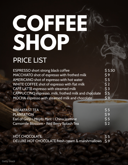 Coffee Shop Bistro Bakery Price List drinks