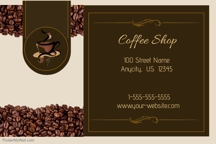 coffee shop business card template postermywall