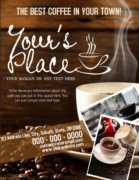Coffee Shop Cafe Cafeteria Template Volante (Carta US)