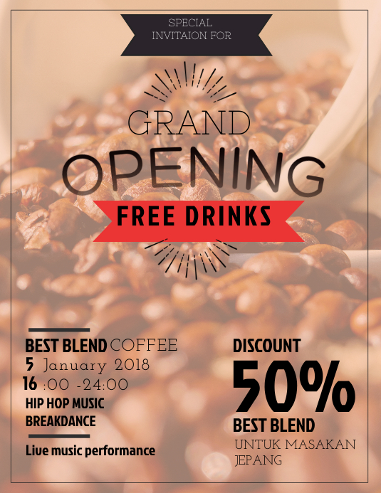 coffee shop grand opening flyer template postermywall