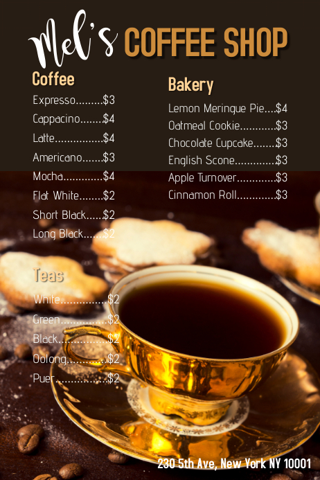 coffee shop menu template postermywall. Black Bedroom Furniture Sets. Home Design Ideas