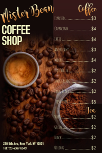 Coffee Shop Menu Template Плакат