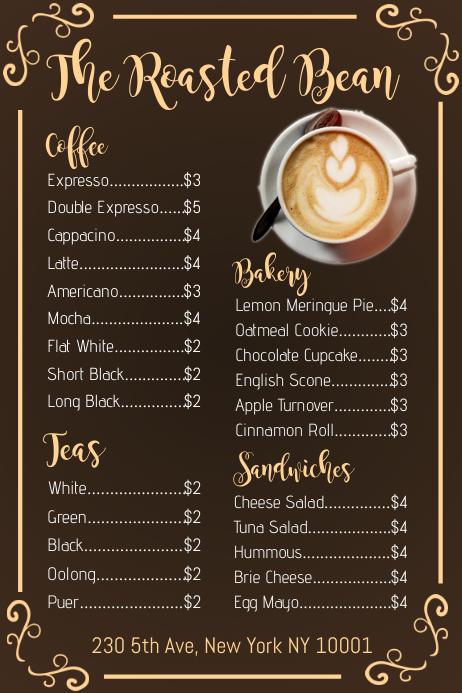 Coffee Shop Menu Template