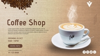 Coffee Shop Opening Promo Tampilan Digital (16:9) template