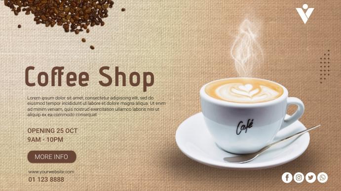 Coffee Shop Opening Promo Digitale display (16:9) template