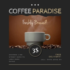 Coffee Shop Video Ad Design Quadrado (1:1) template