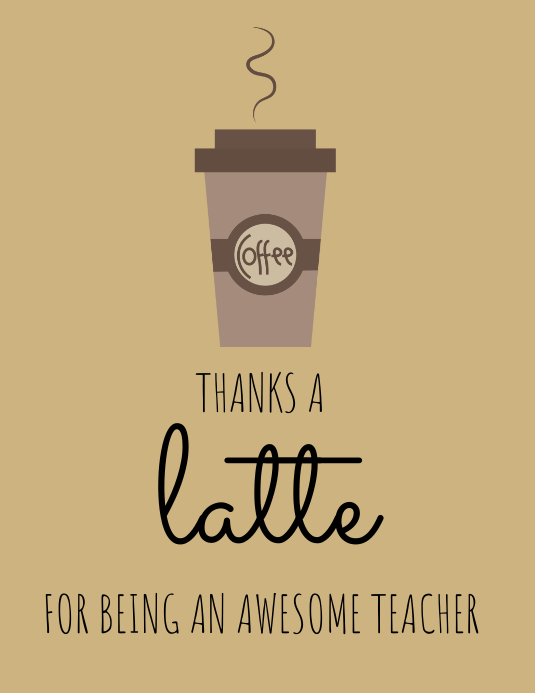 coffee themed thank you card template postermywall