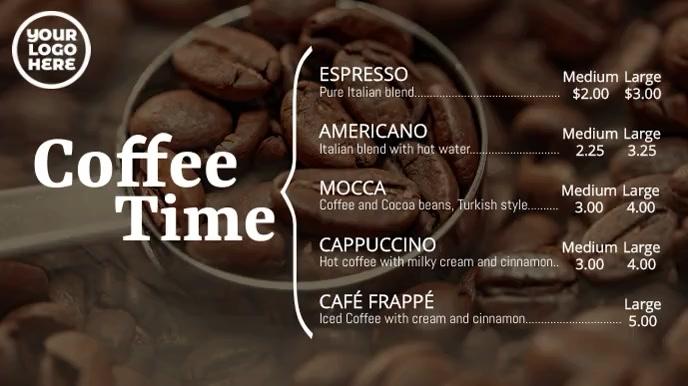 Coffee Time Digital Signage Cafe Menu Display Digitale Vertoning (16:9) template