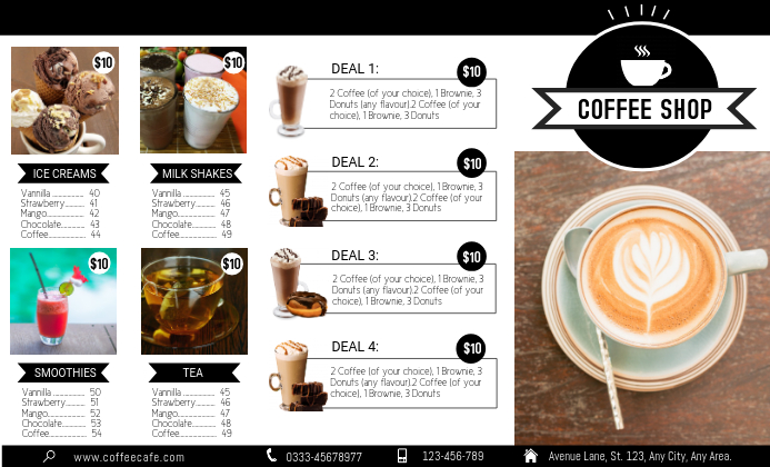 Coffee Trifold Front Flyer template US Legal