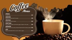 Coffee Video Menu Digital Display Template Affichage numérique (16:9)