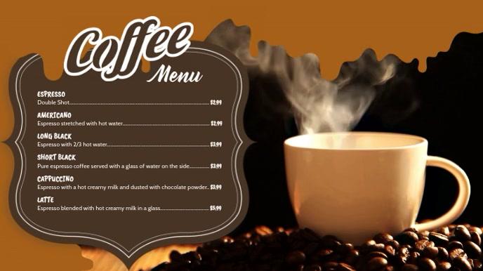 Coffee Video Menu Digital Display Template