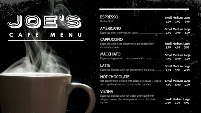 Coffee Video Menu Digital Display Template Цифровой дисплей (16 : 9)